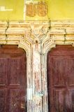 Architectural detail of Old woodcarved door Stock Photos