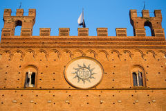 Architectural detail of Palazzo Pubblico, Siena, Italy Stock Photos