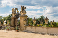 Architectural detail of the park chateau Milotice. In Moravia, Czech Republic Stock Photos