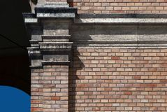 Architectural detail of pilaster. On brick wall Royalty Free Stock Photos