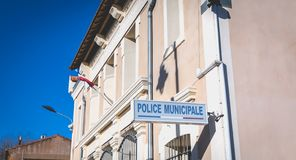 Architectural detail of the police station of Marseillan. Marseillan, France - December 30, 2018: Architectural detail of the police station in the historic city royalty free stock image