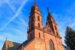 Architectural detail of the protestant cathedral of Basel. In Switzerland known as the emblem of the city Royalty Free Stock Photos
