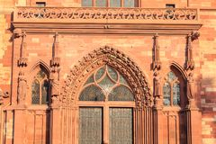 Architectural detail of the protestant cathedral of Basel. In Switzerland known as the emblem of the city Royalty Free Stock Photography