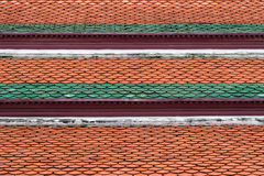 Architectural detail of roof tiles of Wat Phra Kaew, Temple of the Emerald Buddha, Bangkok, Thailand.  Stock Photo