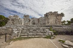 Architectural detail of the ruins of Tulum 3. Front view of a mayan temple in tulum ruinas stock photography