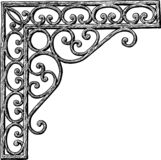 An architectural detail in shape of a decorative corner. Vector drawing of an ornate vintage corner royalty free illustration