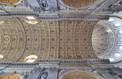 Architectural detail of St Peters Basilica ceiling. Interior architectural detail of the vaulted ceiling in Saint Peter's Basilica, Vatican City royalty free stock image