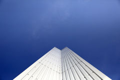 Architectural Detail of steel metal a modern geometry with blue sky background with copy space Royalty Free Stock Photo
