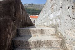 Architectural detail, steps on the city walls stock image
