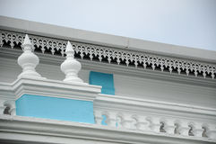 Architectural detail of Sultan Ibrahim Jamek Mosque. The mosque was built on 1927 and stand near the mouth of the Muar River at Mu Stock Photography