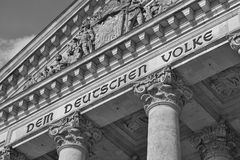 Architectural detail of the top of the German parliament Reichstag - Bundestag in Berlin Royalty Free Stock Photos