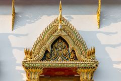 Architectural detail at the Wat Chanasongkhram Ratchaworamahawihan, Bangkok, Thailand, Asia royalty free stock photography