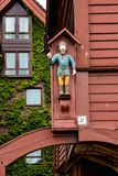 Architectural detail of sculpture on Bryggen buildings in Bergen Norway. royalty free stock photography