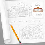 Architectural detailed plan on paper. Architect drew plan of building facade with terrace and made calculations, cottage drawing detailed specification on paper Royalty Free Stock Image