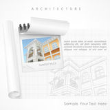 Architectural detailed plan on paper. Architect drew plan of building facade with terrace and made calculations, cottage drawing detailed specification on paper Stock Image