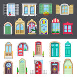 Architectural Detailed Window and Door Set. Vector illustration Stock Image
