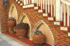 Architectural details. Of renaissance style courtyard stock photography