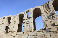 Architectural details of Arles amphitheater Stock Photo