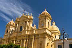 Architectural details of baroque cathedral in Noto, Sicily Stock Image