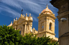 Architectural details of baroque cathedral in Noto, Sicily Stock Images