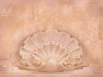 Architectural details. Blank for flyers, messages, business cards, posters, etc. in shabby chic style. Art deco figures carved on Royalty Free Stock Image