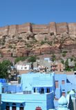 Architectural details in Blue City, India. Details of traditional architecture and the Mehrangarh Fort in the Blue City of Jodhpur in the state of Rajasthan Royalty Free Stock Image