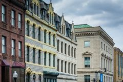 Architectural details of buildings along Charles Street, in Mount Vernon, Baltimore, Maryland.  royalty free stock image
