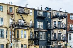 Architectural details of buildings in Mount Vernon, Baltimore, Maryland.  stock image