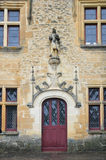 Architectural details of the chateau de Puymartin. Chateau de Puymartin is a fine example of Renaissance architecture and Gothic Revival. This is a medieval stock images