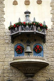 Architectural details with christmas decoration. And bell - old german style royalty free stock photography