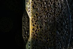 Free Architectural Details. Close-up Detail Shot Of Traditional Thai Art On The Entrance Door Of Blue Temple In Chiang Rai Royalty Free Stock Image - 140456346