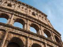 Architectural details of the Coliseum in Roma. On a sunny day Royalty Free Stock Image