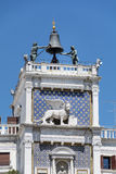 Architectural details of Doge s Palace, Venice, Italy-Winged lion Stock Photo