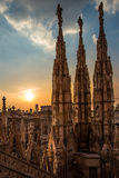 Architectural details of Duomo,Milan Cathedral roof. Royalty Free Stock Image