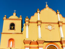 Architectural details of the facade of the Catholic Church in Boaco, Nicaragua. Sun highlights architectural details of the facade of the Spanish Colonial Style Stock Photo