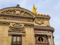 Architectural details of facade of Paris Opera Palais Garnier. France. April 2019.  stock photo