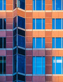 Architectural details in the facade of the Trade Fair Tower, Mes Royalty Free Stock Photography