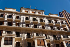 Architectural details of facades stone houses. Valencia. Spain. Stock Photography