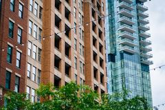 Architectural details in Harbor East, Baltimore, Maryland.  royalty free stock image