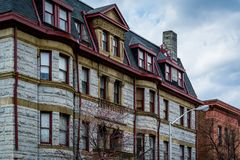 Architectural details of historic buildings in Mount Vernon, Baltimore, Maryland.  royalty free stock images