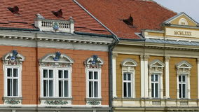 Architectural details at historical buildings in Timisoara, Romania stock video