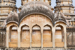 Architectural details of the historical walls and towers of hindu temple Royalty Free Stock Photo