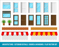 Architectural details for house exterior doors windows Royalty Free Stock Photo
