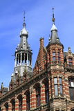 Architectural details of houses in Amsterdam Stock Images
