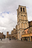 Architectural details on a main square at city of Ferrara Royalty Free Stock Photos