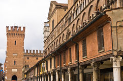 Architectural details on a main square at city of Ferrara Royalty Free Stock Image