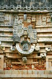 Architectural details of the Mayan temple in Uxmal, Mexico Royalty Free Stock Photo