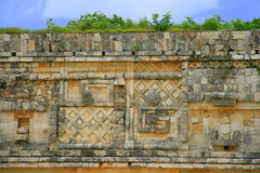 Architectural details of the Mayan temple in Uxmal, Mexico royalty free stock photography