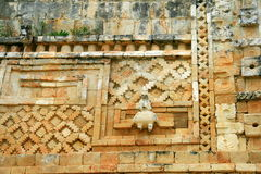 Architectural details of the Mayan temple in Uxmal, Mexico Royalty Free Stock Images