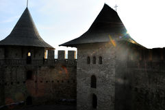 Architectural details of medieval fort in Soroca, Republic of Moldova. Fort built in 1499 by Moldavian Prince Stephen the Great. Has been renovated in 2015 Royalty Free Stock Images
